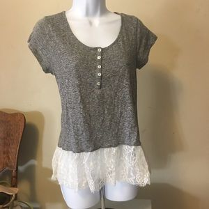 Taylor and sage lace trim top